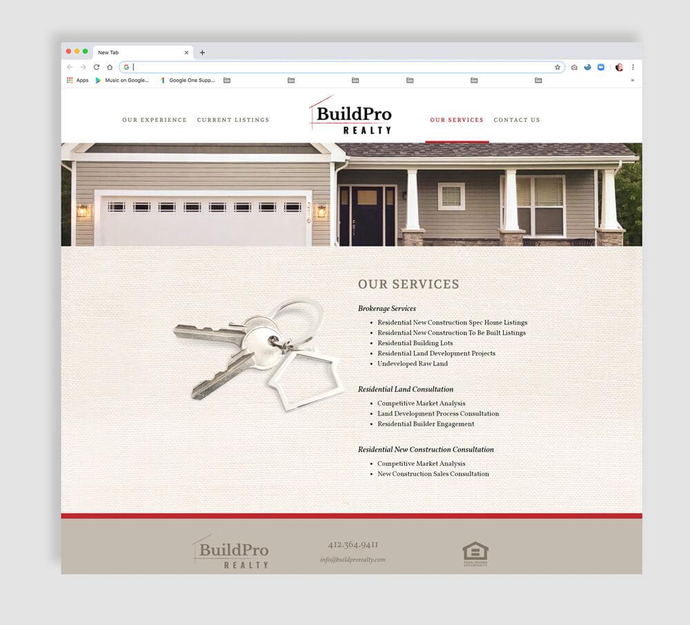 Realtor web site development - interior page