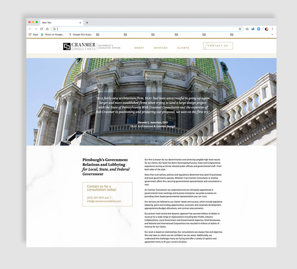 Government Lobbying Firm Web Site Design