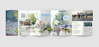 Multi-panel brochure design for riverfront beautifcation advocate