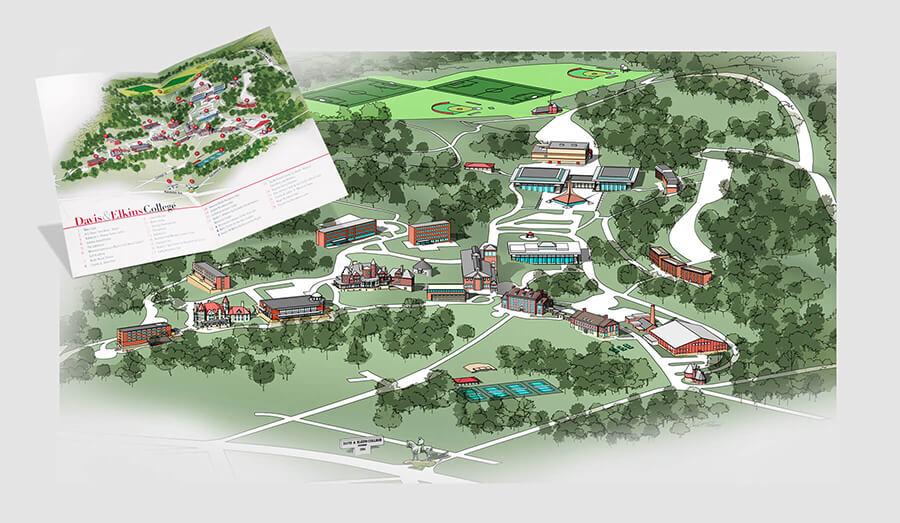 Campus map illustration and brochure design