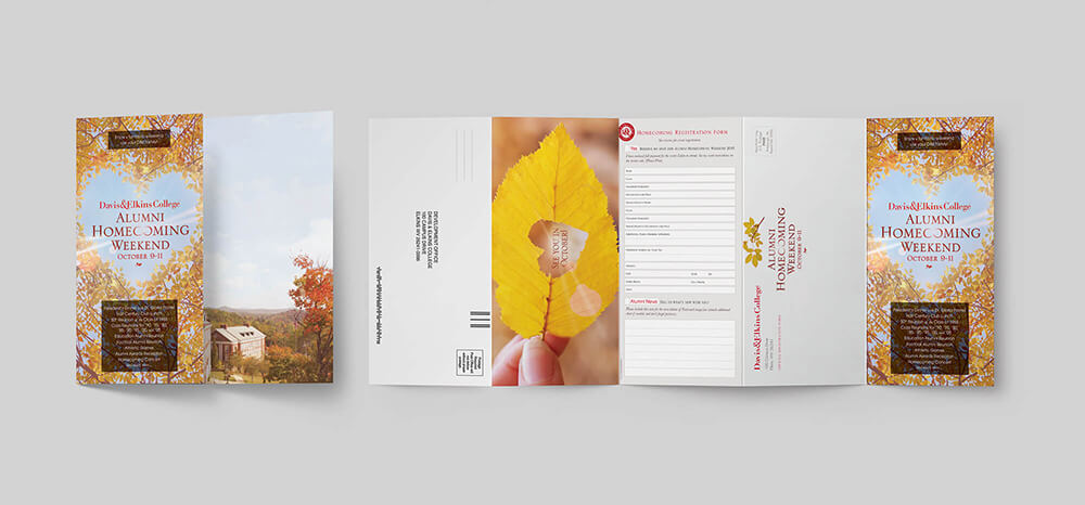 Self-mailer event invitation design for a college