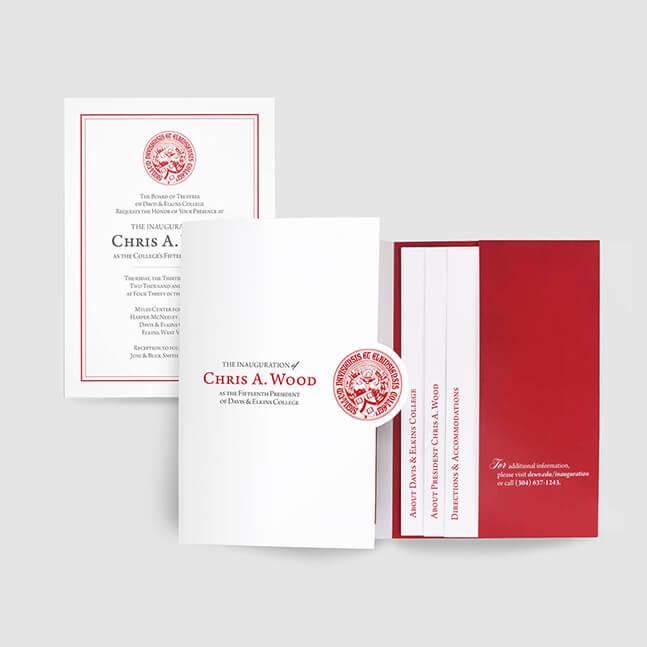 College President inaguration invitation pocket folder design