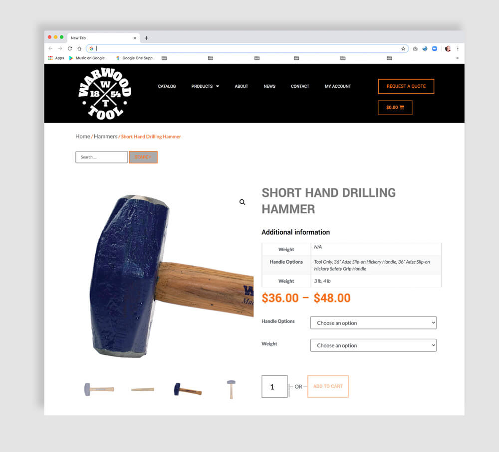 Ecommerce website development product page