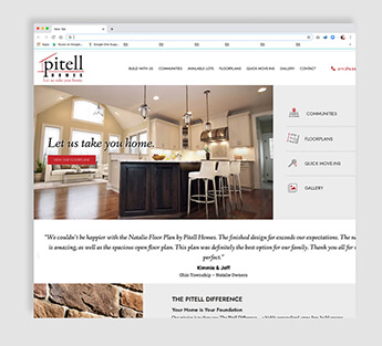 Beautiful example of a home builder's website