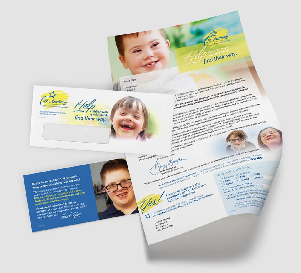 Direct mail fundraiser: Faith-based school for special-needs kids requests donations